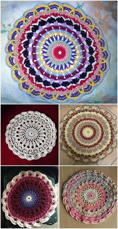 Free Crochet Mandala Patterns Free Crochet Mandala Patterns - Page 8 of 12 - DIY & Crafts Free Mandala Crochet Patterns, Doily Patterns, Crochet Motif, Free Crochet, Knitting Patterns, Crochet Cross, Crochet Round, Diy Crafts Crochet, Crochet Projects
