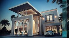 Cascade Lodge Luxury Homes Perspective Architecture, Architecture Design, Classic Architecture, Islamic Architecture, Facade Design, Exterior Design, Villa Design, Modern House Plans, Modern House Design