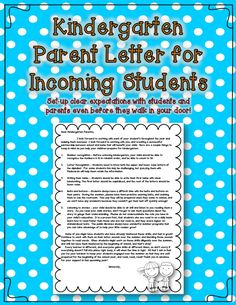 Kindergarten parent letter for incoming students - send this note home with your supply list to inform parents on the skills expected at the beginning of the school year. Kindergarten Parent Letters, Kindergarten Orientation, Welcome To Kindergarten, Beginning Of Kindergarten, Kindergarten Readiness, Kindergarten Graduation, Kindergarten Classroom, Classroom Ideas, Back To School Night