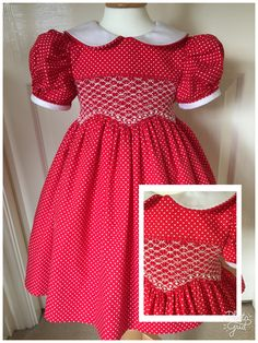 Hand smocked red and white pindot dress Cute Little Girl Dresses, Little Girl Outfits, Kids Outfits, Frocks For Girls, Kids Frocks, Girls Smocked Dresses, Baby Girl Dresses, Kids Party Wear Dresses, Smocks