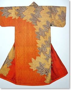 Maple Leaves adorned with small flowers.  17th Century, Japan