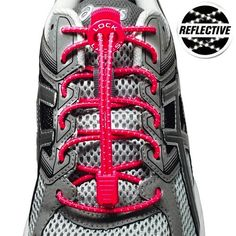 f3642e9f2f6 Lock Laces Elastic No Tie Shoelaces- Reflective Vivid Pink