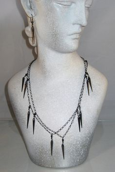 Black Spike Charm Chain Necklace and Earring by blingbychristine, $14.00
