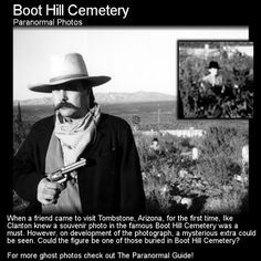 Boot Hill Cemetery Ghost Photo. When a first time visitor had their photo taken at this quite famous and historic cemetery the resulting image contained a ghostly extra... Head to this link for the full article: http://www.theparanormalguide.com/1/post/2013/03/boot-hill-cemetery-ghost-photo.html