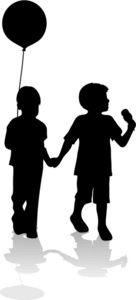 Children Clipart Image: Silhouettes of Two Children Holding Balloons