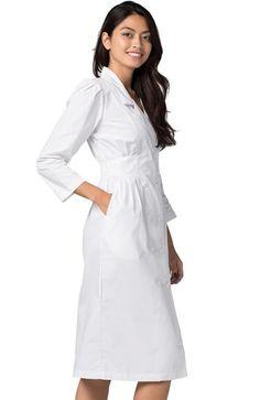 Universal Basics by Adar Women's Fitted Midriff Scrub Dress | allheart.com Junior Tops, Feminine Style, Fitness Fashion, Double Breasted, Scrubs, Hemline, Sleeves, Cotton, How To Wear