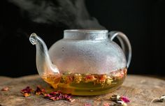This is a sweet infusion with nothing more than dried rose petals, a vanilla bean and honey You can find dried rose petals in Middle Eastern markets.