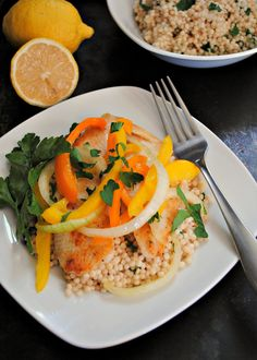 Tilapia with Bell Peppers and Parsley-Spiked Couscous can be on the table in less than 30 minutes!
