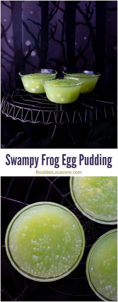 Swampy Frog Egg Pudding takes regular tapioca pudding to a Halloween recipe high! Dairy-free, the pudding is colored from the tapioca pearls! Gluten-free.