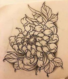27 Trendy flowers drawing tutorial one stroke Flower Tattoo Drawings, Flower Tattoo Designs, Tattoo Sketches, Sketch Drawing, Drawing Flowers, Tattoo Flowers, Chrysanthemum Drawing, Japanese Chrysanthemum, Chrysanthemum Flower