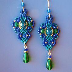 Micro Macrame Earrings- Beaded Earrings in Teal, Blue, Gold -Macrame Jewelry - Classic style. $38.00, via Etsy.