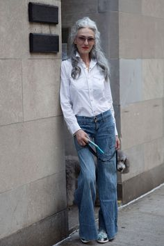 ADVANCED STYLE: After The Shoot: Linda Rodin - looking great in jeans and a white shirt