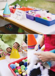 Rainbow Pinwheel Party Theme {Kids Birthday} // Decorate your own party hat, make your own hair bow or boutainnere