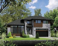 Plan image used when printing Garage Exterior, Exterior House Colors, Modern House Plans, Modern House Design, Bungalows, Split Level Exterior, Split Level House Plans, Veranda Design, Prairie Style Houses