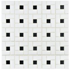 EliteTile Retro Random Sized Porcelain Mosaic Tile in White and Black & Reviews | Wayfair