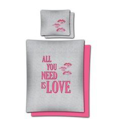 Súprava romantických posteľných obliečok ružovej farby All You Need Is, Drink Sleeves