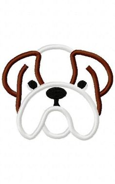 Bulldog Embroidery Machine Applique Design 10309 by ZoeysDesigns, $5.00