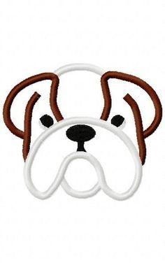 Bulldog Embroidery Machine Applique Design 10309 by ZoeysDesigns, $5.00