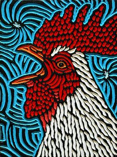 "'Rooster' - art by Lisa Brawn, via Flickr;  painted woodcut block on salvaged birch;  7.5"" x 10"""