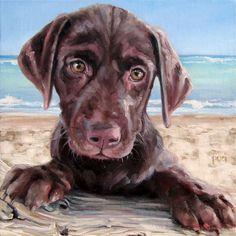 "Puppy Portraits, custom Pet Portrait Oil Painting by puci, 10x10"""
