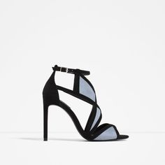 Image 1 of CONTRAST WRAPAROUND HIGH HEEL SANDALS from Zara