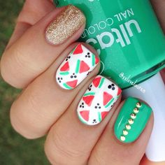 Watermelon colors nail art