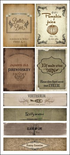 Harry Potter Drink Labels - Elf Made Wine, Firewhiskey, Pumpkin Juice, Butter Beer, Veritaserum, Gillywater, Kissing Concoction, Elixir of Life | FollowPics