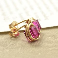 Fuschia Post Earrings Gold Fill Stud Crystal Cube by NansGlam, $18.00