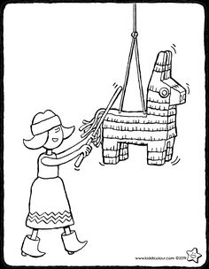 Emma and the piñata - colouring page drawing picture Big Easter Eggs, Easter Bunny, Birthday Coloring Pages, Throw A Party, Pictures To Draw, Colouring Pages, Book Crafts, Daffodils, Easter Crafts