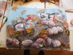 Gabriele is art journalling about her trip to Norway and the rock carving site we visited together.