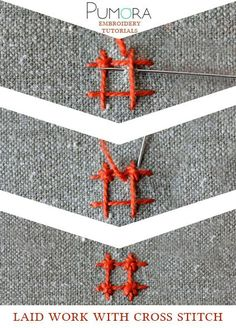 Pumora's lexicon of embroidery stitches: laid work with cross stitch
