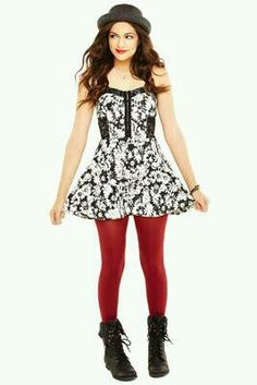 Dress black with white flowers and red tights CUTE!!!!
