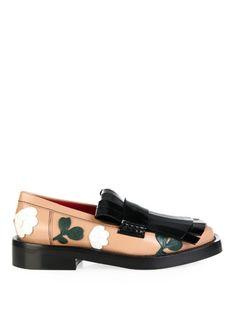 09fa686060 Marni Fringe-front floral-appliqué loafers Black Leather Loafers, Black  Loafer Shoes,