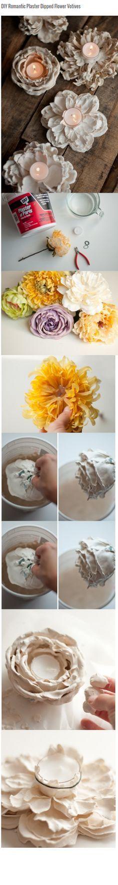 Kaarsen houder van bloemen gemaakt met plaster