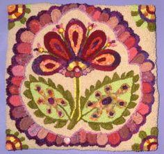 Wild Flower Hooked rug by Teresa Nieberding