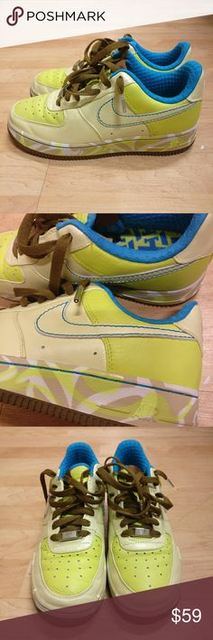 Nike Air Force 1 Premium London Edition 2007 Nike Air Force 1 Sneakers Premium London Edition 2007  Gently used, good condition Rare bright neon yellow and teal! Nike Shoes Sneakers