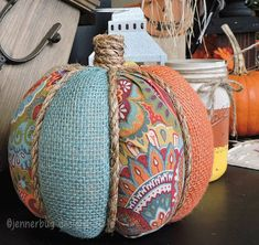 Items similar to Fall Fabric Pumpkin - Fabric, Rope, and Burlap on Etsy Fall deco/gifts Dieser entzü Autumn Crafts, Thanksgiving Crafts, Fabric Pumpkins, Fall Pumpkins, Burlap Crafts, Fabric Crafts, Fall Halloween, Halloween Crafts, Fall Projects