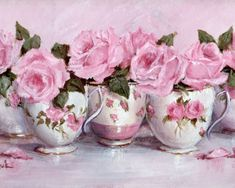 Ready to Frame Print - Pretty Pink Tea Cups in a Row - Postage is included Worldwide