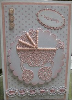 Tattered Lace Pram Baby Girl card