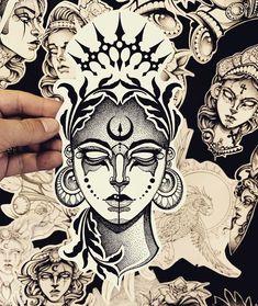 Tattoo Sketches, Tattoo Drawings, Unique Tattoos, Cool Tattoos, Blackwork, Stippling Art, Nature Drawing, Dot Work Tattoo, Neo Traditional Tattoo