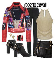 """Roberto Cavalli Patchwork Biker Jacket"" by romaboots-1 ❤ liked on Polyvore featuring Roberto Cavalli, Miss Selfridge, Balenciaga, Hammitt, Paolo Errico and Janis Savitt"