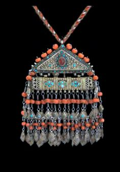 Uzbekistan ~ Khorezm | Amulet pendant; gilt silver, coral, turquoise, glass and wool || Ghysels' Collection