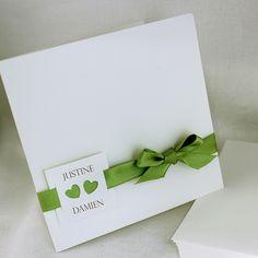 Corte* Ruban vert (Faire part Selection Mariage Ivoire Carre)