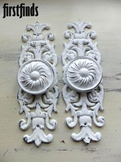 2 Large Disc Knobs Giant Ornate Plates Furniture by Firstfinds, $48.00