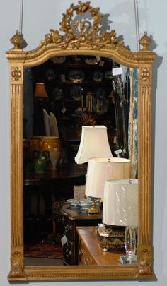 "Louis XVI style mirror in wood and gesso, circa 1890, 33"" x 61""tall.   Please visit our website www.thegablesantiques.com to view our entire inventory!"