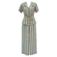 Rare art deco 1930's striped crepe ladies trouser suit