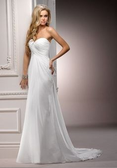Chiffon Strapless Sweetheart Empire Simple Wedding Dress- I really like the tail and detail around the sweetheart llining