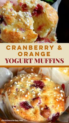 Cranberry Breakfast Recipes, Greek Yogurt Muffins, Cranberry Dessert, Cranberry Orange Muffins, Healthy Breakfast Muffins, Healthy Muffin Recipes, Yogurt Recipes, Cranberry Recipes Healthy, Recipes
