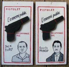 Peinture sur carton et pistolet en bois. Laurent Jacquy, Série L'Ennemi Public, illustration. Portraits de Jack Ruby et Gavrilo princip