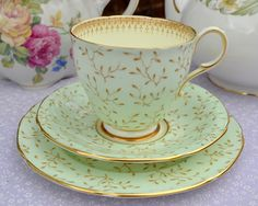 Paragon c.1952 Green and Gold Vintage China